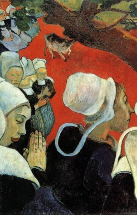 """1888, Paul Gauguin, Visione dopo il sermone, olio su tela, cm 73 x 92. Edimburgo, National Gallery of Scotland.  """"In questo quadro la lotta e il paesaggio esistono solo nella fantasia della gente in preghiera dopo il sermone, ragion per cui esiste un contrasto tra la gente vera e la lotta nel paesaggio immaginario e sproporzionato"""". Così Paul Gauguin descrive in una lettera a Van Gogh la sua ultima opera."""