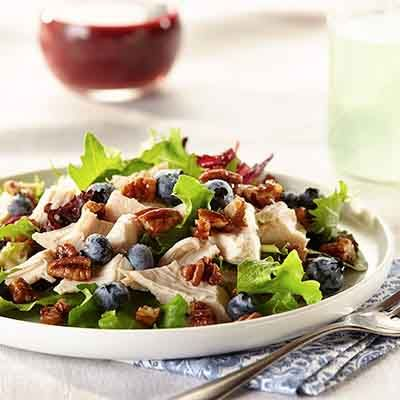Sweet blueberries and crunchy pecans give a new dimension to chicken salad.