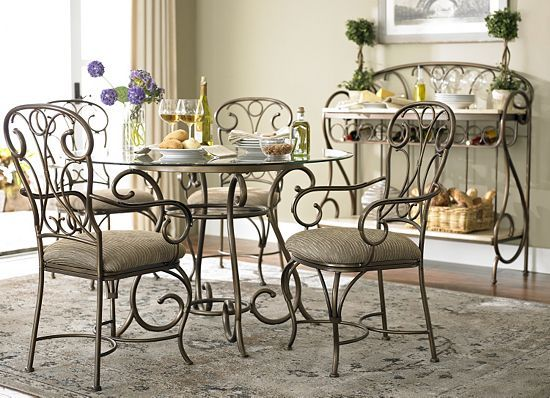 The Best Part Of This Havertys San Luis Dining Room The Glass Tabletop And Wrought Iron Work