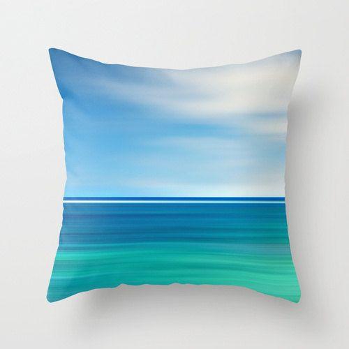 Beach Throw Pillow Coastal Decor Beach Cottage Living Room Teal Aqua Blue Nautical Stripes Caribbean Sea Abstract Ocean Pillow Water Waves on Etsy, $40.00