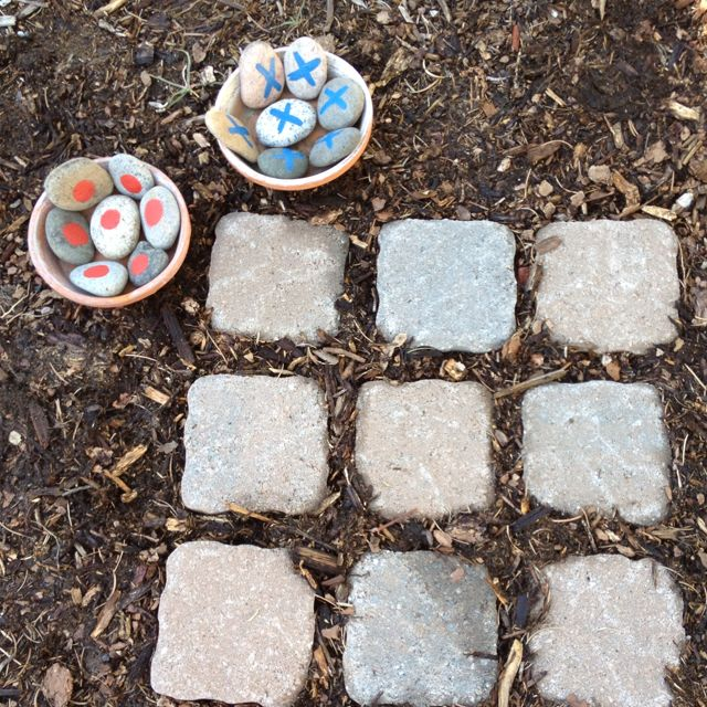 outdoor tic tac toe... this would be a neat (and easy) addition to our back yard.