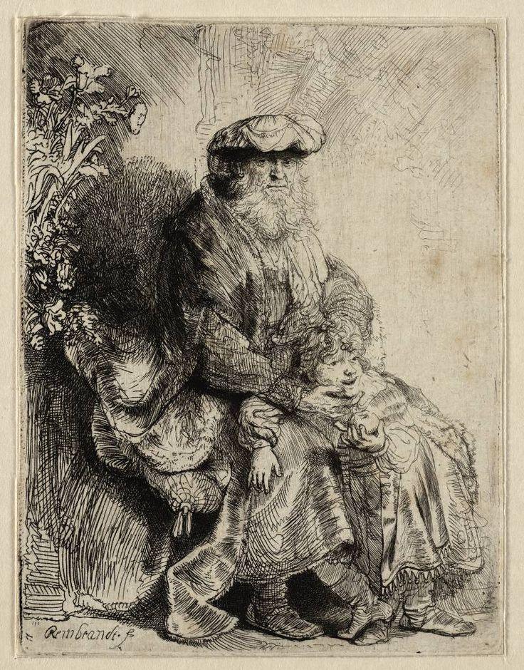 Rembrandt etchings  in Teylers Museum: Jacob liefkoost Benjamin (voorheen Abraham en Isac)