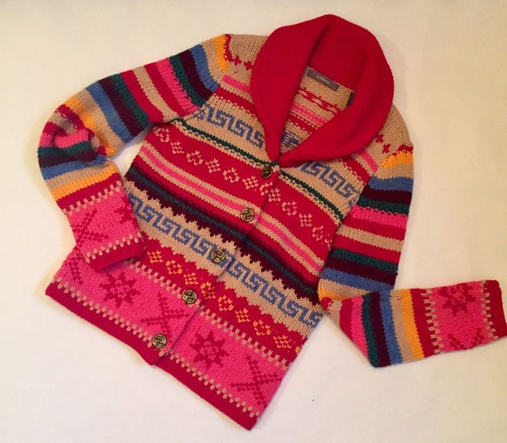 Peruvian Inca Wool Blend Liz Claiborne Cardigan Petite P Tribal Lebowski Boho #LizClaiborne #Cardigan