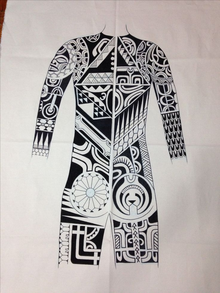 Marquesan tattoo bodysuit design.