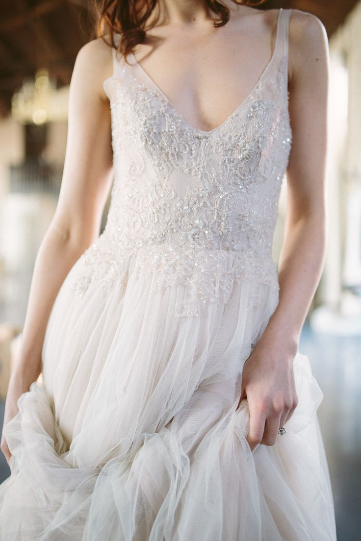 Sleeveless Beaded V-Neck Paolo Sebastian Wedding Gown -- See more of the wedding inspiration shoot on SMP, here: http://www.StyleMePretty.com/2014/05/30/a-sleeping-beauty-inspired-wedding-shoot/ Photography: AllanZepeda.com
