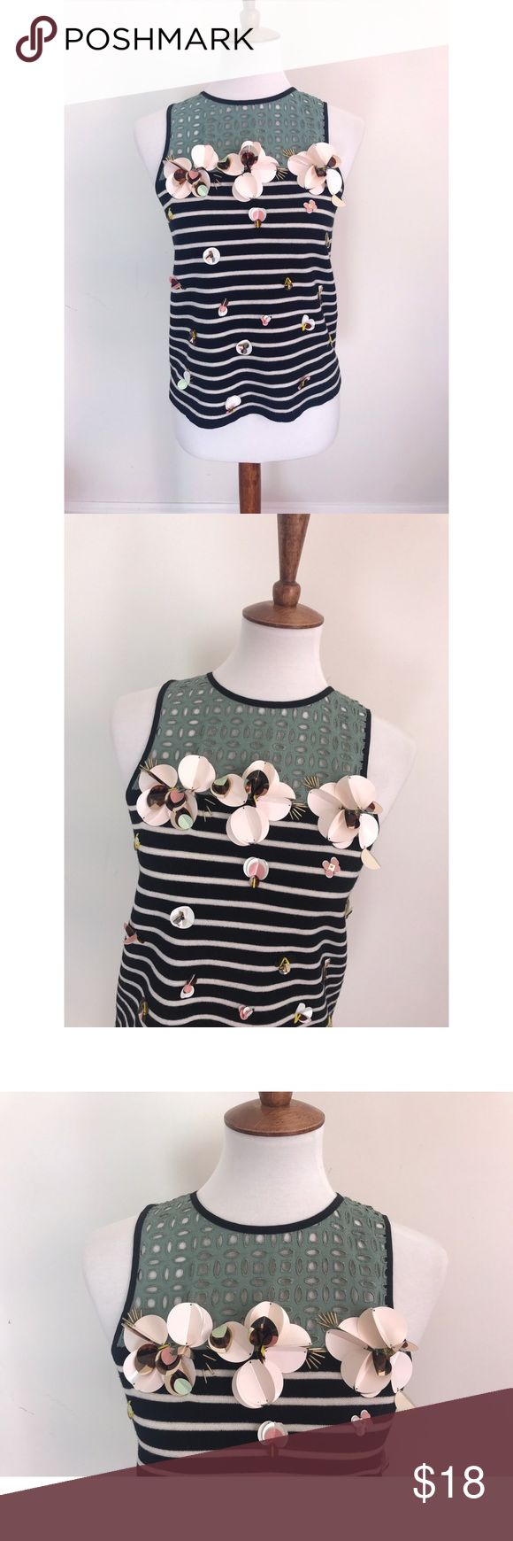 J. Crew black label striped floral embossed blouse - Size M. Brand new condition and has never been worn. The floral detail and the diamond like details are 3D, meaning they are attached to the blouse and not just embroidered. This blouse is so stunning.  - I don't trade or sell outside of posh. - I ship every single day!  - All items come from a smoke free home!  - If you have anymore questions just let me know and I would be happy to help! 🙂 J. Crew Tops Blouses