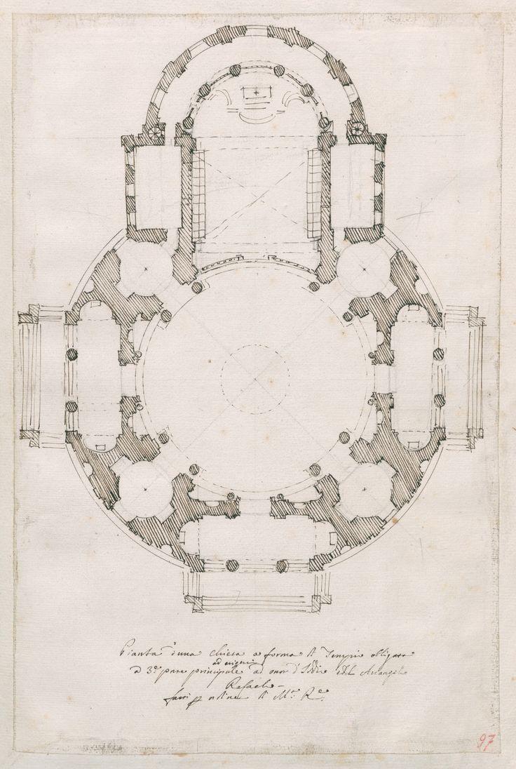 Pianta di una chiesa dedicata all'arcangelo San Raffaele, da costruirsi sulla collina di Torino per ordine di Madama Reale Maria Giovanna Battista di Savoia-Nemours, 1718 circa