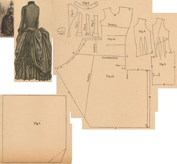 Der Bazar 1887: Visiting dress from brown cashmere and brown passemanterie adornment; A. bodice's lining, 1. right side front part, 2. left side front part, 3.-5. side gores, 6. back part, 7. back drapery part, 8. collar, 9. cuff in half size