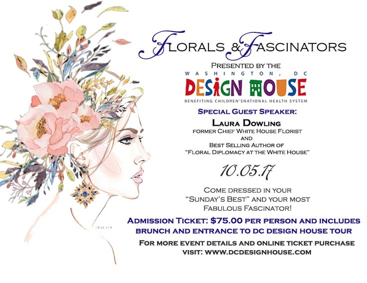 "Come join us at this years @dcdesignhouse on 10/05/17 for a our Florals and Fascinators Brunch event featuring @lauradowling, former Chief White House florist! Dine on made to order waffles and omelettes while we hear fabulous tales about life in the White House and her new book ""A White House Christmas"". Ticket price: $75.00 and includes admission to the #dcdesignhouse tour. https://www.eventbrite.com/e/florals-fascinators-brunch-tic…"