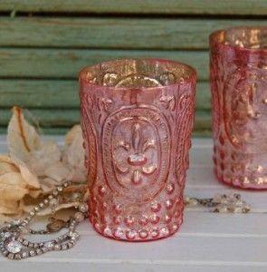Fluer-De-Lis Rose Glass Votive Cups
