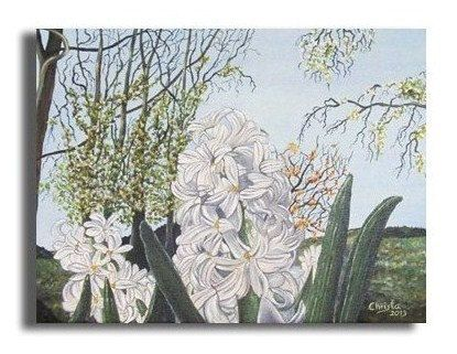 Flowers painting in oil Hyacinths12x16i . by OilpaintingsChrista, $150.00
