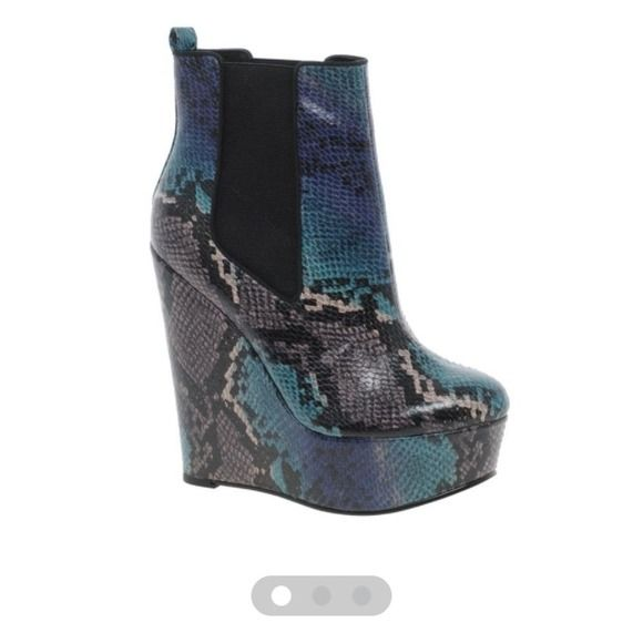 Snakeskin wedge ankle boots Super cute snakeskin wedge ankle boot from Asos, never worn. ASOS Shoes Wedges