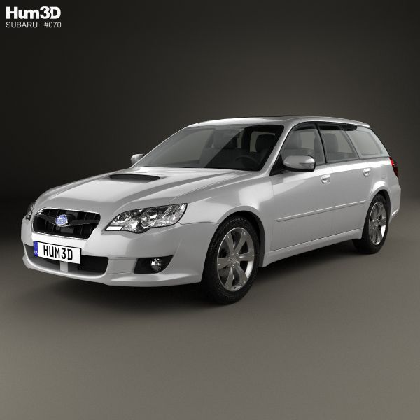 Subaru Legacy station wagon 2008 3d model from Hum3d.com.