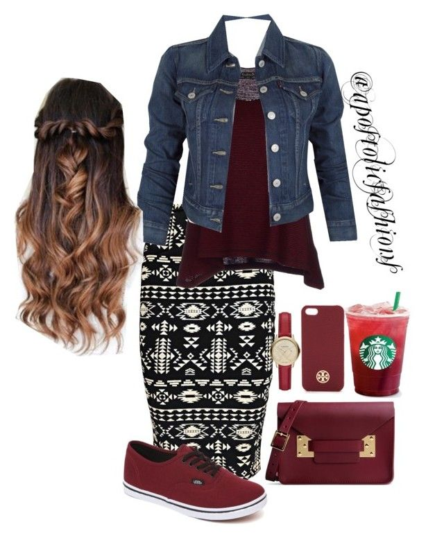 """""""Apostolic Fashions #1176"""" by apostolicfashions on Polyvore featuring Boohoo, Vans, Kristina Ti, Levi's, Sophie Hulme, Burberry and Tory Burch"""