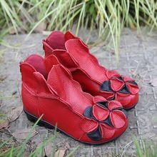 2017 Inverno Novas mulheres da moda sapatos de couro genuíno altura crescente sapatos flats ankle boots botas curtas estilo nacional alishoppbrasil