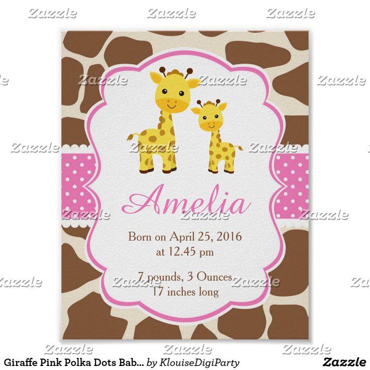 Giraffe Pink Polka Dots Baby Nursery Wall Art