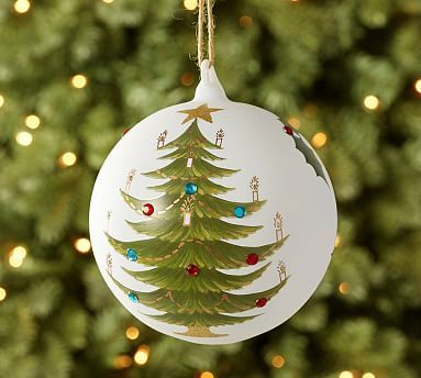 2015: Hand-Painted Tree Glass Globe Ornament