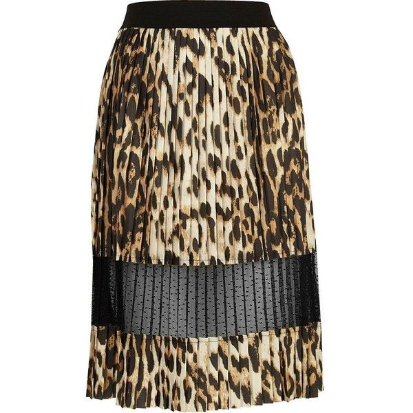 River Island Brown leopard print pleated lace midi skirt ($36) ❤ liked on Polyvore featuring skirts, brown, midi skirts, women, tall skirts, mid calf skirts, knee length lace skirt, leopard print skirt and brown pleated skirt