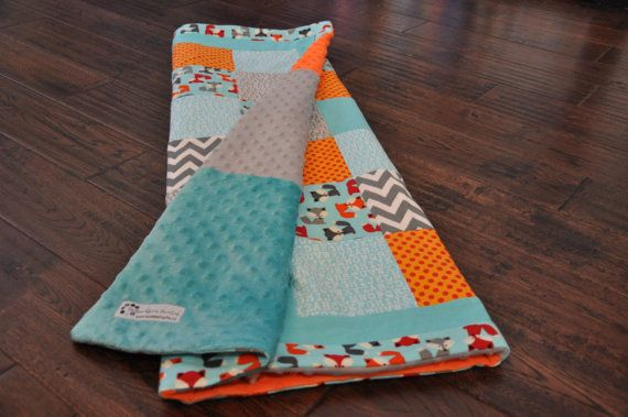 Orange, grey and aqua fox and chevron baby quilt. Modern and cool!