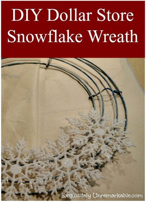 Make an easy snowflake wreath with plastic dollar store ornaments! All you need is a glue gun and a wreath frame.