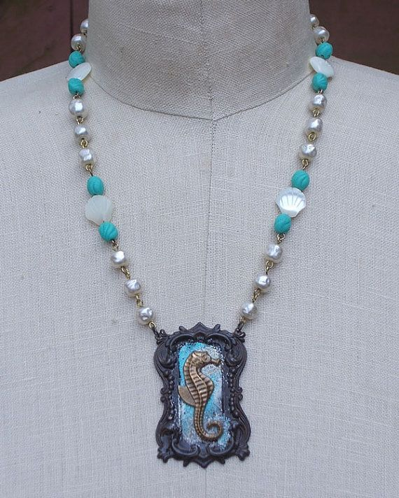 Seahorse Necklace Vintage Mother Pearl Shell Beads by LilisGems, $53.00
