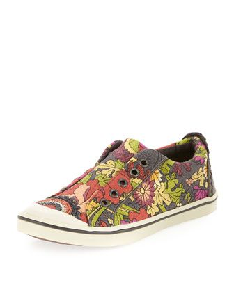 Sakroots Cadence Printed Slip-On Sneaker, Slate Flower Power
