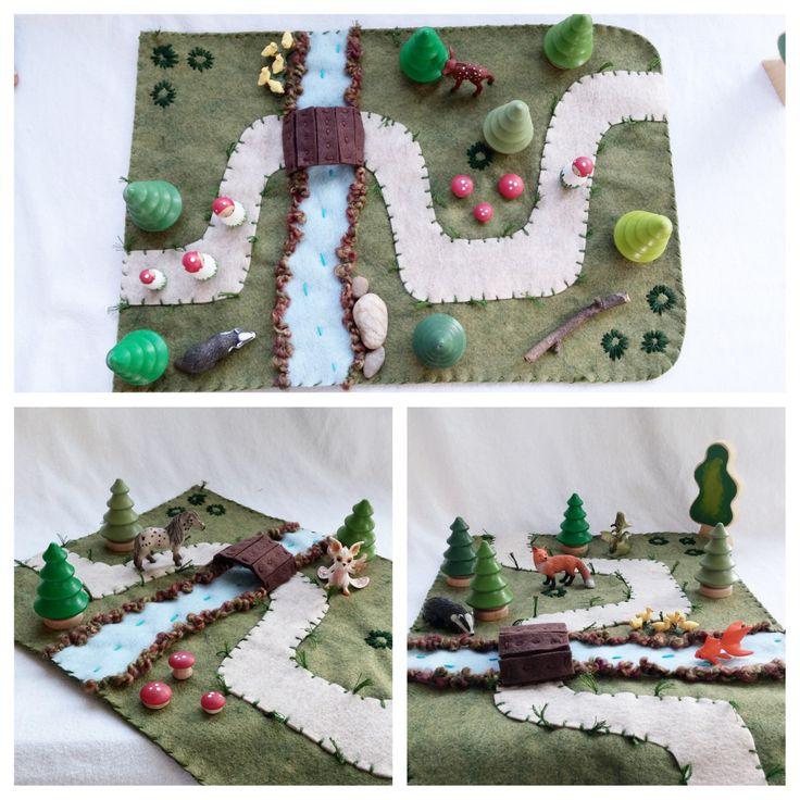 Landscape Playscape Play Mat - wool felt storytelling storybook fairytale - path river bridge Dollhouse woodland toy by MyBigWorld2015 on Etsy