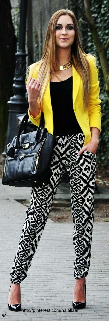 for a more structured look, pair them with a fitted blazer and heels
