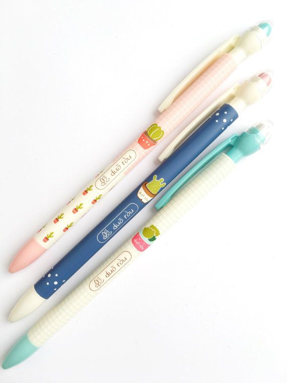 Cute mechanical pencil with eraser tip  Available in three different colors With awesome cute cactus and succulents Or as a set