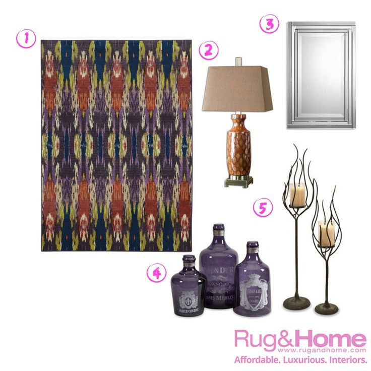 1-Prismatic 85134 2-Aguilar Table Lamp 3-Alanna Frameless Mirror 4-Karlin Purple Glass Bottles 5-Anemone Candle Holders #firdayfaves