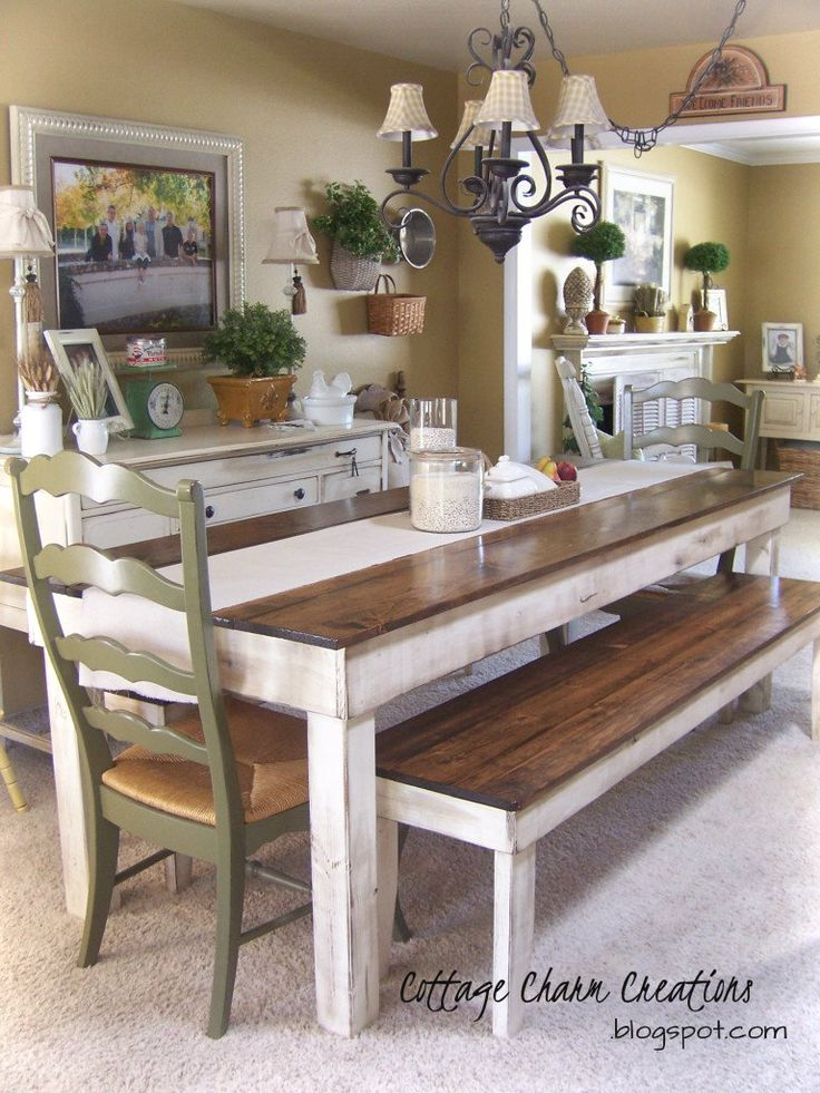 17 best ideas about farm tables on pinterest farm style for Kitchen table sets with bench and chairs