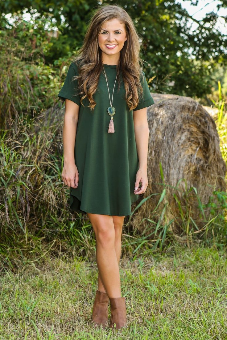 Down To A T-Shirt Dress-Olive - All Dresses | The Red Dress Boutique: