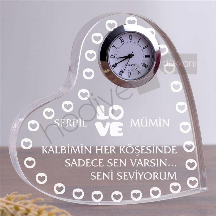 İsimli ve Mesajlı Akrilik Masa Saati