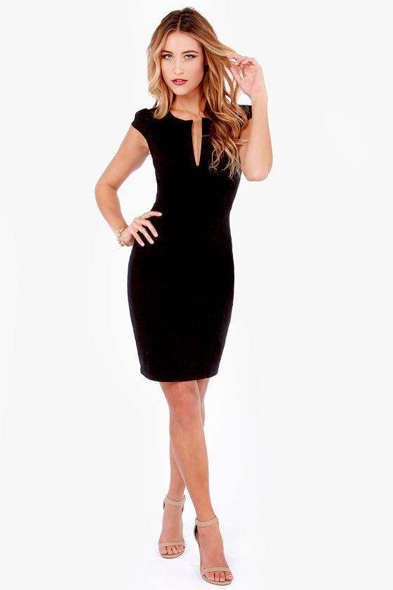 LULUS Exclusive Top Notch Black Midi Dress at Lulus.com! $42
