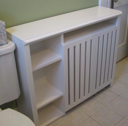 white radiator cover shelves used for cheap storage space