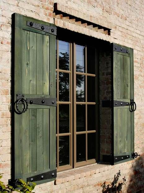 Green rustic shutters garden ideas pinterest green hardware and shutters for Hardware for exterior shutters