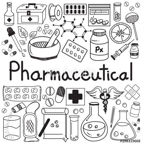Vector: pharmaceutical and pharmacist doodle handwriting icons of medicines tools sign and symbol in white isolated paper background for health presentation or subject title, create by vector