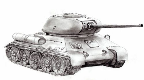 Drawing of an army Tank step by step