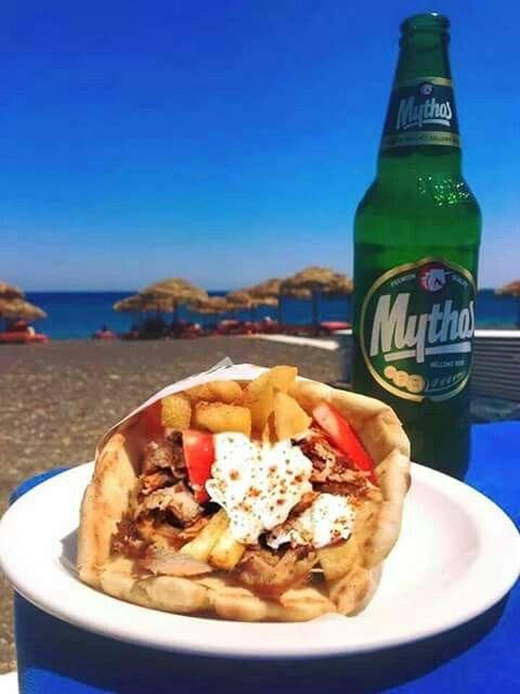 Souvlaki and Greek beer