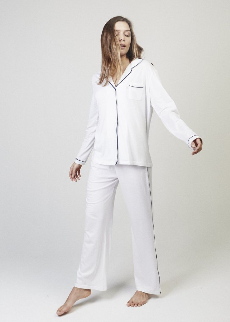 Joni Wide Leg Pajama Pants. Dreamy and roomy. A full length wide leg pyjama pant with side piping.