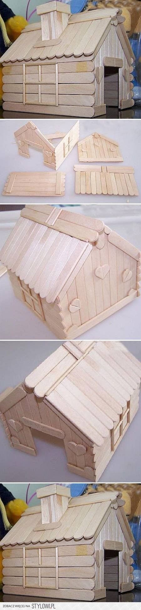 DIY Popsicle Stick House DIY Projects | UsefulDIY.com na Stylowi.pl