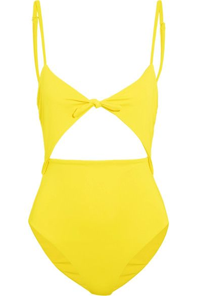 Bright colors are key to Mara Hoffman's Spring '17 collection. Made from Italian stretch fabric, this sunny yellow swimsuit is woven with SPF50 protection. It has cutouts at the front and back and a kitsch bow at the bust. Adjust the straps to find your perfect fit.