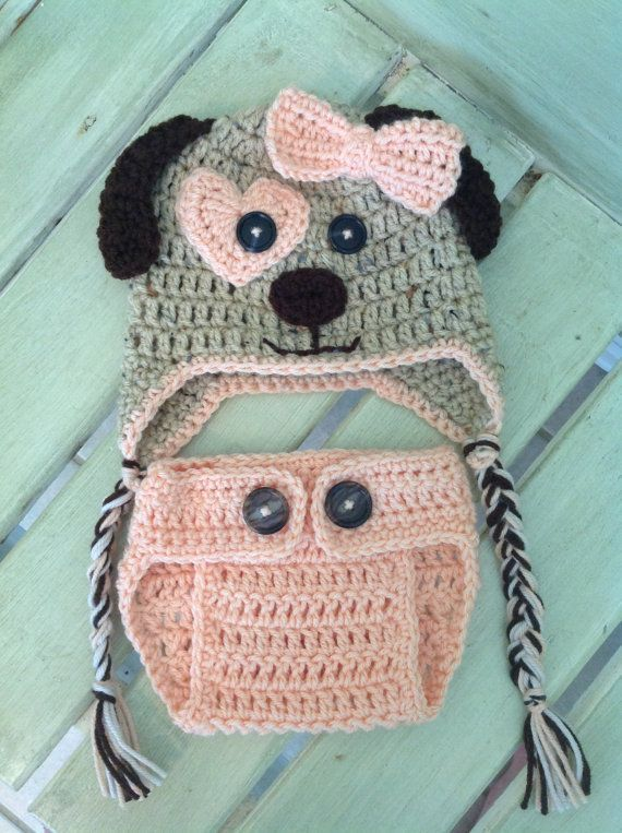 Crochet Baby Puppy Dog Hat and Diaper   Cover Peach- Love this little set!