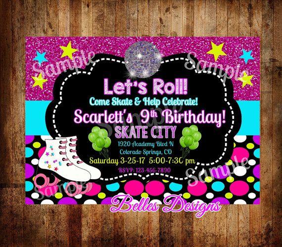 Roller Skating Party Skating Invitation Birthday Skate
