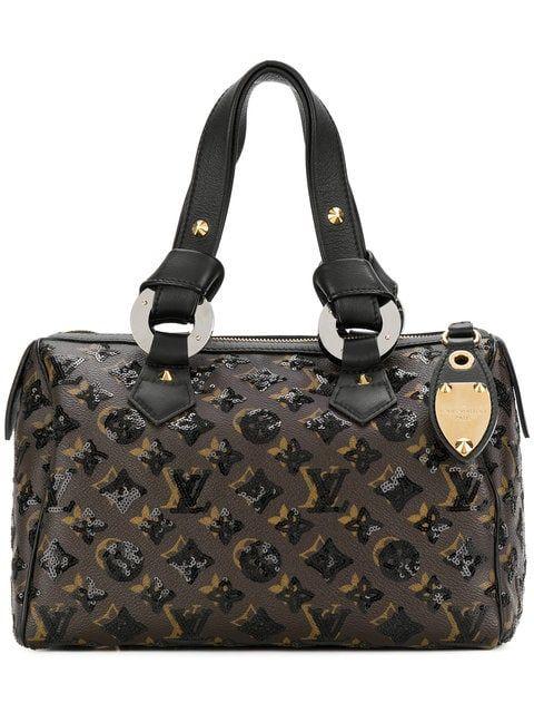 fa793b88eba9c Vintage Louis Vuitton Dark brown beige and black leather Speedy Eclipse  tote bag featuring top handles