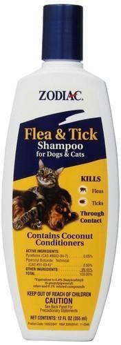 Zodiac Flea & Tick Dog Cat Kitten Puppy Shampoo 12 oz