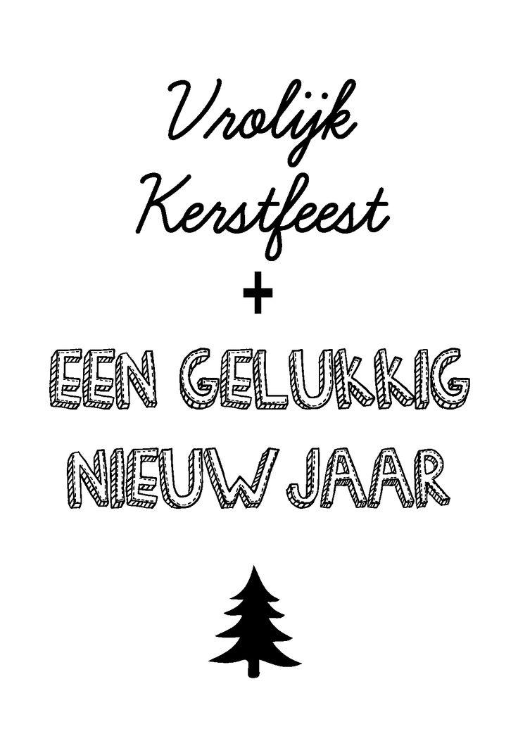 """Kerstkaart zwart wit met de quote """"Vrolijk kerstfeest en een gelukkig nieuwjaar"""" van Studio Inktvis. Zwart wit is de trend van 2014."""