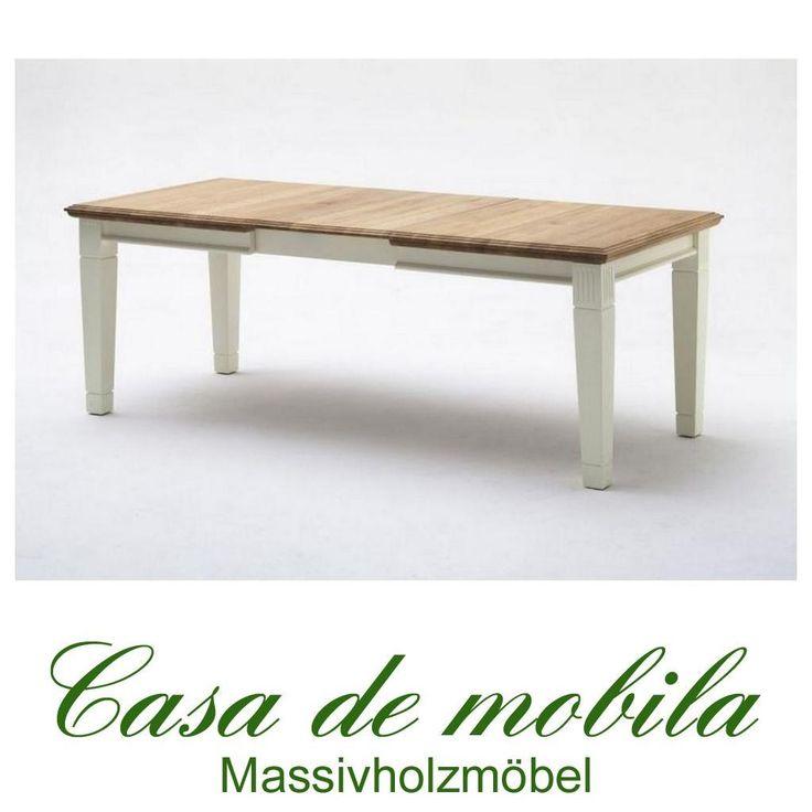 Massivholz Esstisch ausziehbar 180/240x95 Holz Kiefer massiv champagner lackiert / Wildeiche geölt NORDIC HOME