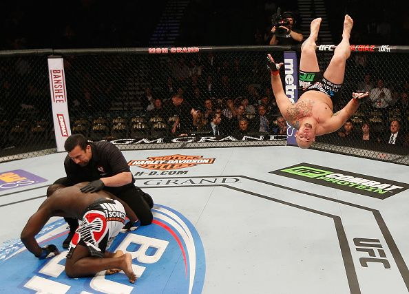 Shawn Jordan celebrates his knockout win over Jared Cannonier in their heavyweight bout during the UFC 182 event at the MGM Grand Garden Arena on January 3, 2015 in Las Vegas, Nevada. (Photo by Josh Hedges/Zuffa LLC/Zuffa LLC via Getty Images)