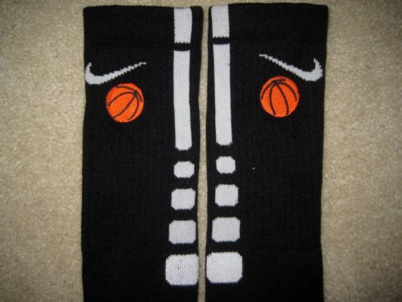 SPORTS BASKETBALL Custom Nike Elite Socks Black w/ White Stripe L (8-12) on Etsy, $28.95